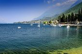 Lake Garda, the view of the surrounding mountains and the coast