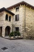 The ancient building in the town of Sirmione, Lake Garda, Northern Italy