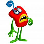 3 d cartoon cute red monster