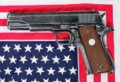 Gun Placed On An American Flag