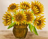 Sunflowers, Watercolours