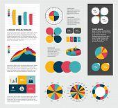 Infographics set elements. Collection of charts, diagrams, schemes, speech bubbles. Vector.