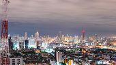 Urban Scene  At Night In Bangkok , Thailand