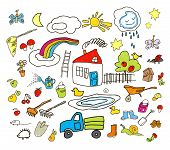 picture of heartwarming  - Set of drawings in child like style - JPG