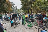 People Taking Part In The Ice Ride 2014 In Milan, Italy