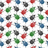 image of potato bug  - Bug seamless pattern on white background - JPG