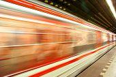 Underground Prague subway .Speed transportation.
