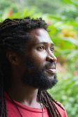 Portrait of African man with dreadlocks