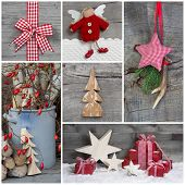 Collage of Christmas photos and decorations on grey wooden background.