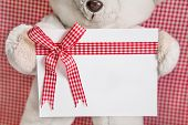White teddy bear holding gift box with checkered bow for a christmas greeting card