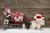 stock photo of santa sleigh  - Christmas card decoration - JPG