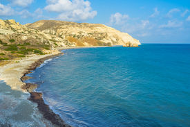 stock photo of saracen  - One of the most beautiful beachs in Cyprus surrounded by white rocks with the bright blue sea Aphrodite - JPG