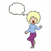 cartoon woman dancing with thought bubble