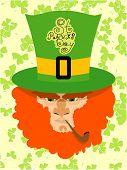 St Patricks day card with beer, lucky clover. leprechaun with a beard
