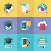 pic of online education  - Set of flat design icons for online education online learning - JPG