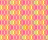 Abstract Geometric Seamless Pattern Background from Transparent Ovals in Orange, Pink, Yellow and Li