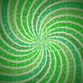 Abstract Geometric Vintage Green and White Background with Fanning Spiral Whirl Rays in Shamrock Lig