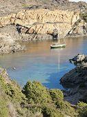 Boats On Mediterranean Bay. Spain