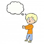 cartoon shocked boy with thought bubble