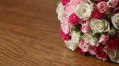 Wedding Bouquet On Wooden Background