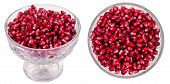 Pomegranate Seeds In A Crystal Bowl, Top And Side Views, Isolated On A White