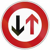 image of traffic rules  - German traffic sign indicating that oncoming traffic has priority - JPG