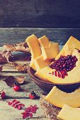 Ripe Cranberries And Pumpkin
