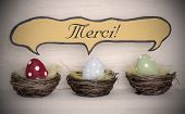 Spotlight To Three Colorful Easter Eggs With Comic Speech Balloon Merci Means Thank You