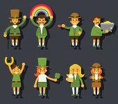 Leprechauns Ggnomes Characters set Celebration St. Patrick Icons Flat Design Icon Stylish Background