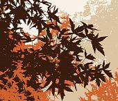 Colored landscape of autumn brown foliage - Vector illustration