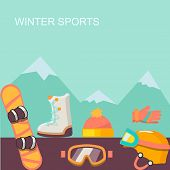 Winter  background. Mountains and snowboard