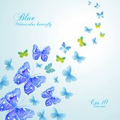 Beautiful banner with blue watercolor butterflies. Vector.