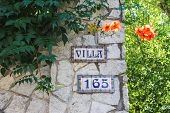 Colorful Signboard With Number On The House In The Resort Town Bellaria Igea Marina, Rimini, Italy
