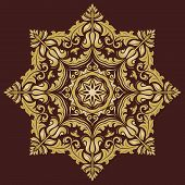 Damask  Pattern. Orient Golden Ornament