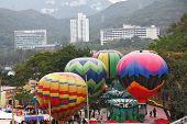 HONG KONG JANUARY 24, 2008: Huge balloons decorate entertaining park of Hong Kong