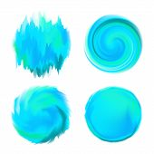 Abstract Round Watercolor Backgrounds in Shades of Blue on White Backing