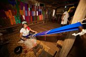 Kayan Lahwi Girl Is Weaving.