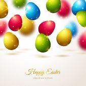 Happy Easter Greeting Card with Colorful Eggs