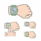 Smartwatch illustrations. Vector icons of smart watches.