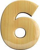 stock photo of wood craft  - Wooden number 6  - JPG