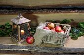 Apples In A Wattled Basket And An Old Lantern