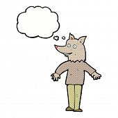 pic of werewolf  - cartoon happy werewolf with thought bubble - JPG