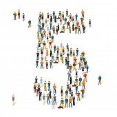 People crowd. Vector figures, 5