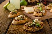 Mushroom Snacks On Grilled Baguette