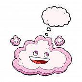 cartoon decorative cloud with thought bubble