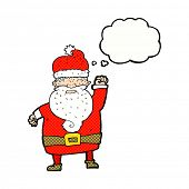 cartoon angry santa claus with thought bubble