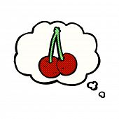 cartoon cherries with thought bubble
