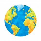 Globe map - abstract geometric vector illustration. Globe polygonal illustration. Design element.