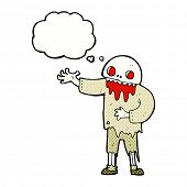 cartoon spooky zombie with thought bubble