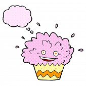 cartoon exploding cupcake with thought bubble